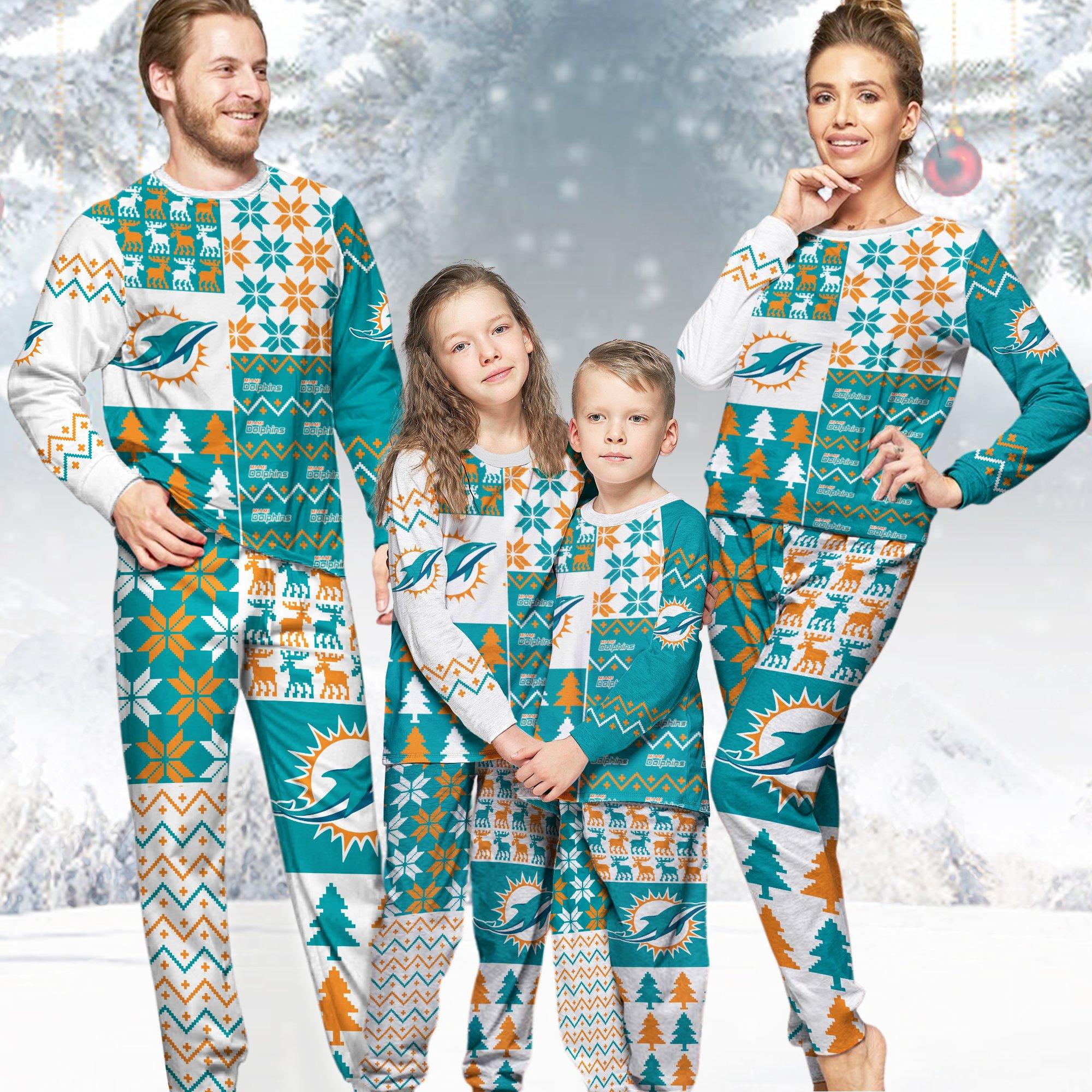 Miami Dolphins NFL Family Holiday Pajamas